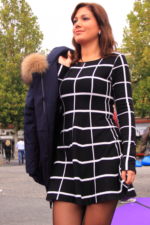 checker minidress dress pantyhose boots street style fashion streetstyle hengelo woman girl sexy look outfit candid dutch hot boots beauty