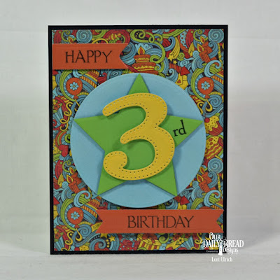 Our Daily Bread Designs Stamp Set: Celebration, Custom Dies: Large Numbers, Pennant Flags, Sparkling Stars, Circles, Paper Collections: Birthday Bash, Birthday Brights