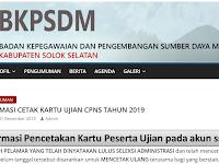 Informasi Cetak Kartu Ujian - CPNS Tahun 2019