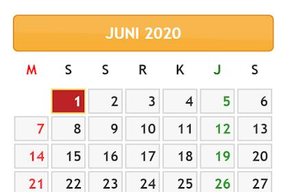 KALENDER BULAN JUNI TAHUN 2020