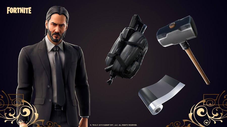 fortnite john wick crossover pc ps4 xbox one nintendo switch keanu reeves ltm skin mode tokens loot