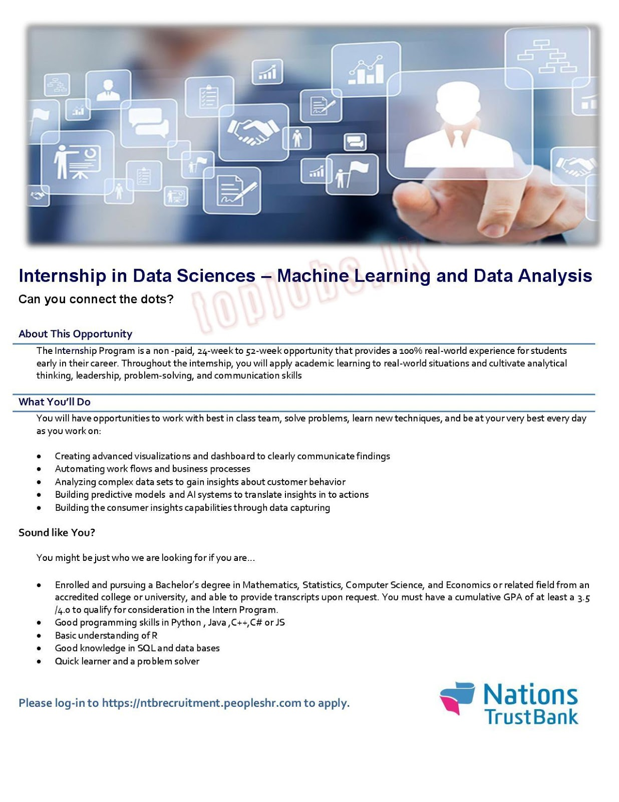 Internship for Data Sciences and Machine Learning and Data