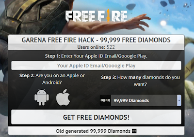 Get hacks.net/garena Cara terbaru mendapatkan 99,999 Diamonds free fire dengan gratis