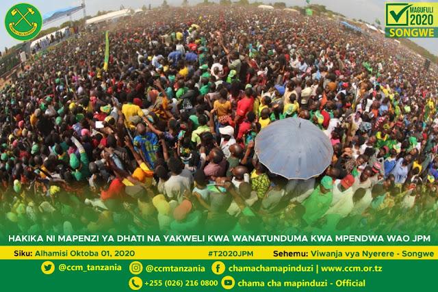 Picha : John MAGUFULI Akiwatubia Wananchi wa TUNDUMA, SONGWE Leo 01st October, 2020