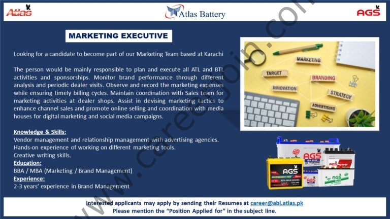 Atlas Battery Jobs Marketing Executive