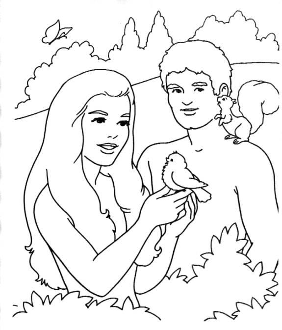 Desenhos Do Adao E Eva Para Colorir