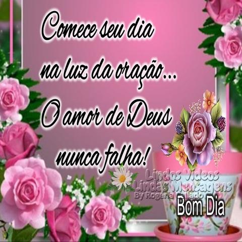 Comece seu dia  na luz da oração...  O amor de Deus  nunca falha!  Bom Dia!