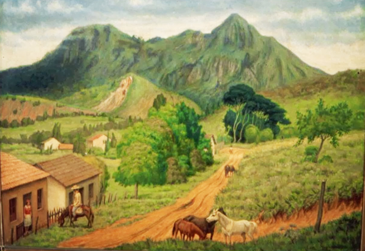 Pintura de Henrique Manzo criada por volta da década de 1940.  Imagem: acervo Liz Rabello