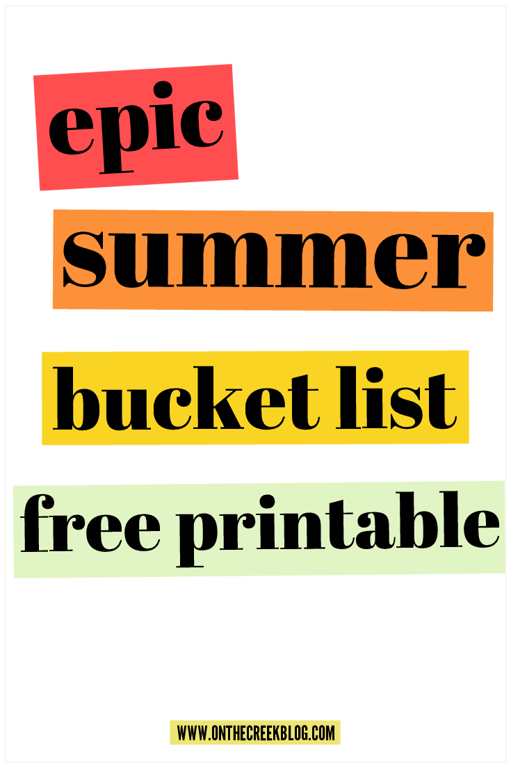 Free Summer Bucket List Printable!