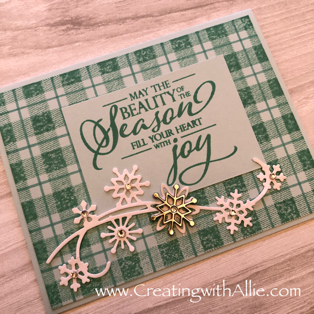 Check out this blog post with instructions on how to make this card with Tips and Tricks for making handmade cards using Stampin Up's Snowflake showcase products!  You will love how quick and easy this is to make!  www.creatingwithallie.com #stampinup #alejandragomez #creatingwithallie #videotutorial #cardmaking #papercrafts #handmadegreetingcards #fun #creativity #makeacard #sendacard #stampingisfun #sharewhatyoulove #wintercards #brandnewproducts #snowflakeshowcase