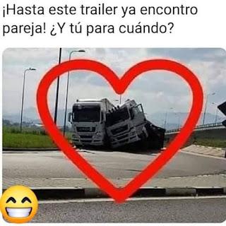 Meme San Valentín el camión encontró el amor, tu cuando?