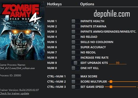 Zombie Army 4 Dead War (PC) Can, Sekmeme +13 Trainer Hilesi