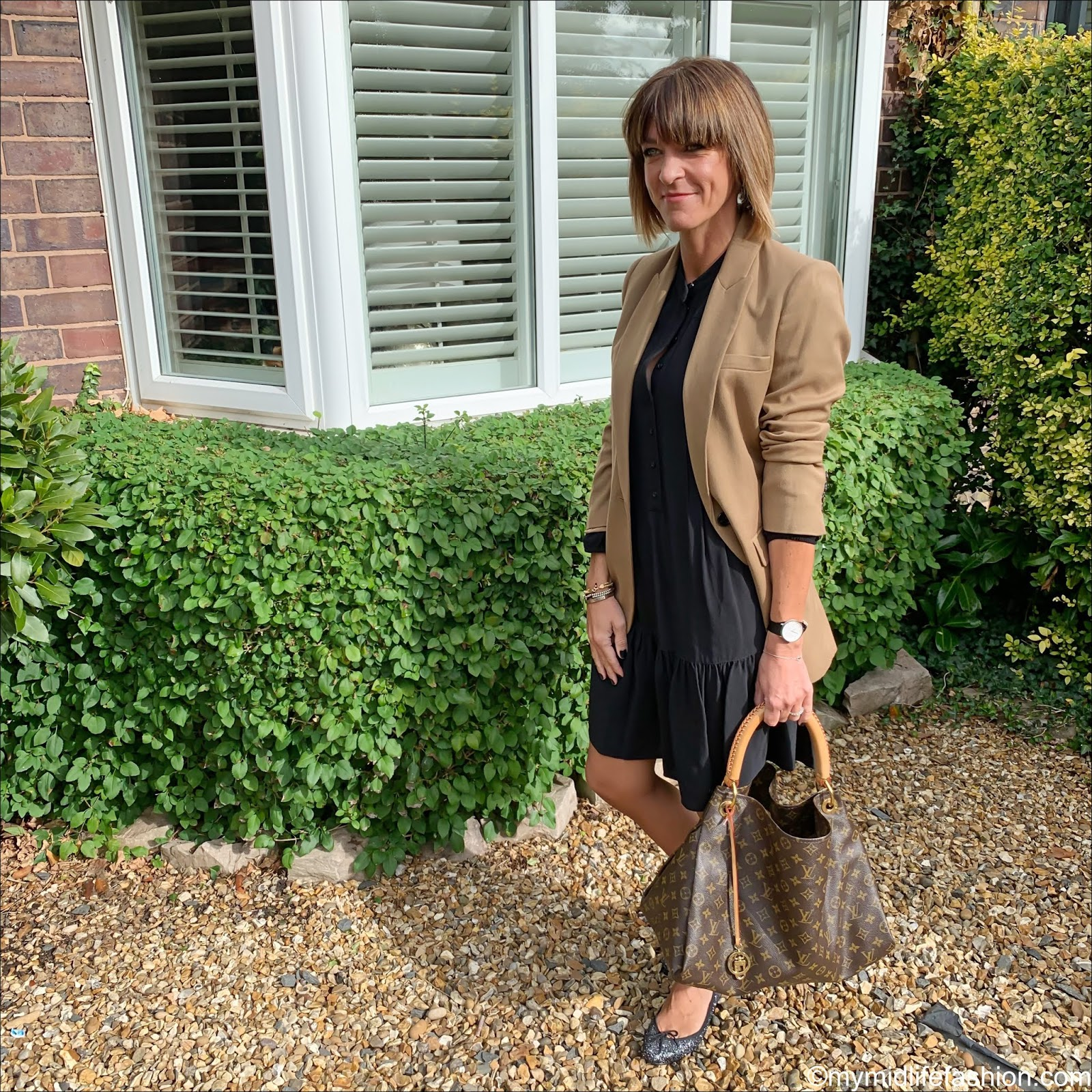 my midlife fashion, marks and Spencer single breasted blazer, marks and Spencer pin tuck relaxed mini dress, Louis Vuitton bag, French sole glitter ballet pumps