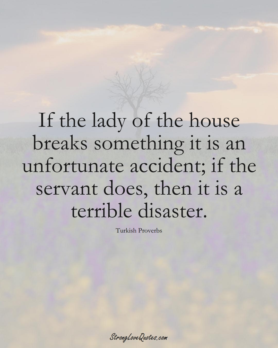 If the lady of the house breaks something it is an unfortunate accident; if the servant does, then it is a terrible disaster. (Turkish Sayings);  #MiddleEasternSayings