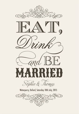 Eat, Drink & Be Married Save the Date Card by Paper Themes