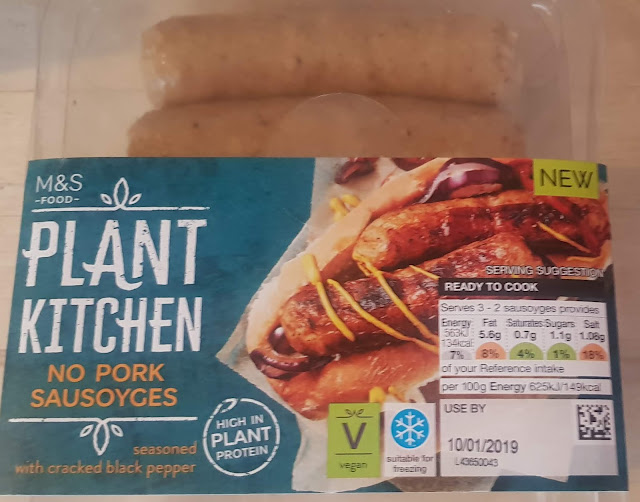 A box of No Pork Sausoyges from the Plant Kitchen range.