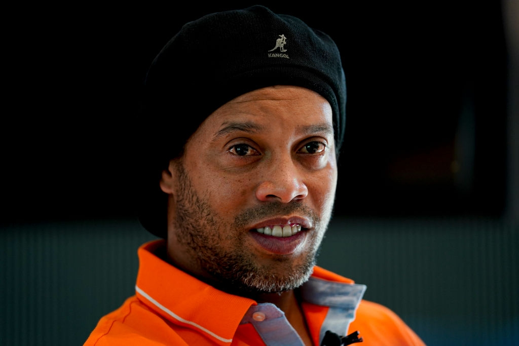 Former football star Ronaldinho attends an interview about teqball as The International Teqball Federation (FITEQ) celebrate one year until the Sanya Asian Beach Games at The Sanya Edition on November 29, 2019 in Sanya, China. (Photo by Fred Lee/Getty Images)