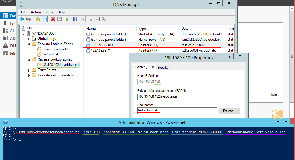 vGeek: Powershell find missing associated PTR resource records in