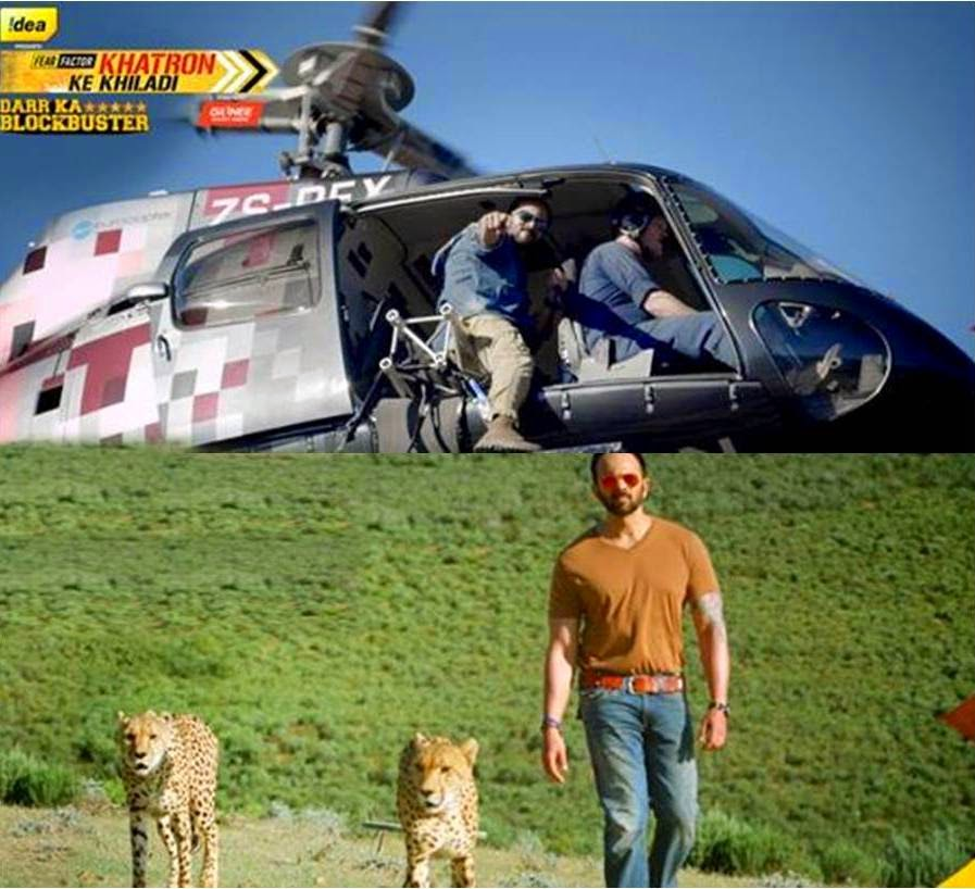 Fear Factor Khatron Ke Khiladi Host Rohit Shetty in chopper and with tigers