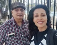 flora saini with her father