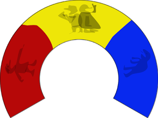 Red, yellow, blue blocs of a horseshoe, each with a cartoon argumentative person or two.