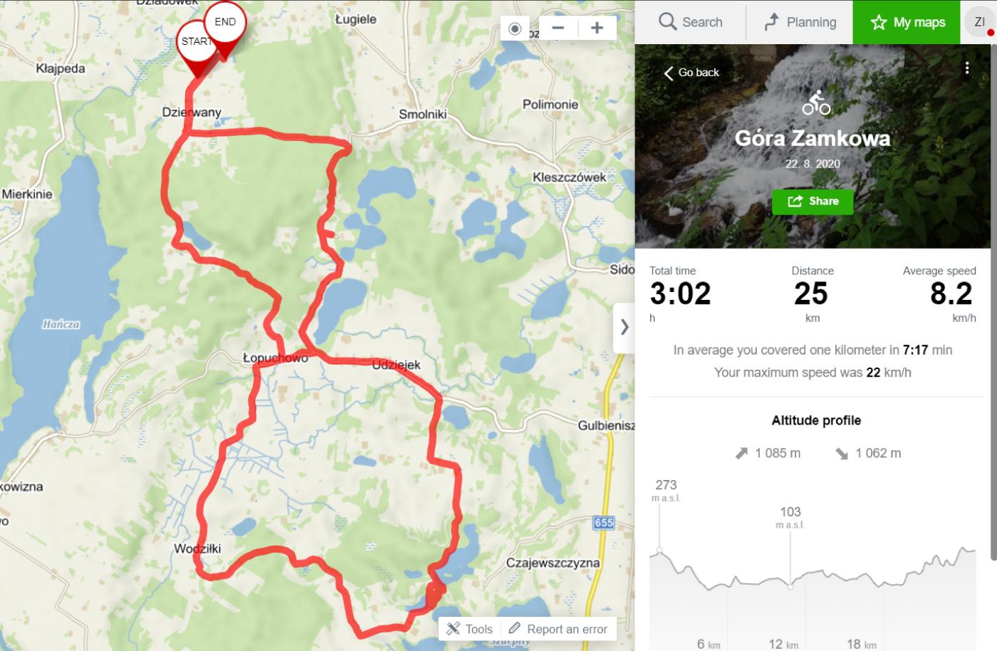 Przebieg mikrowyprawy rowerowej na Górę Zamkową (mapa)