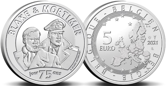 Belgium 5 euro 2021 - 75 years of Blake & Mortimer