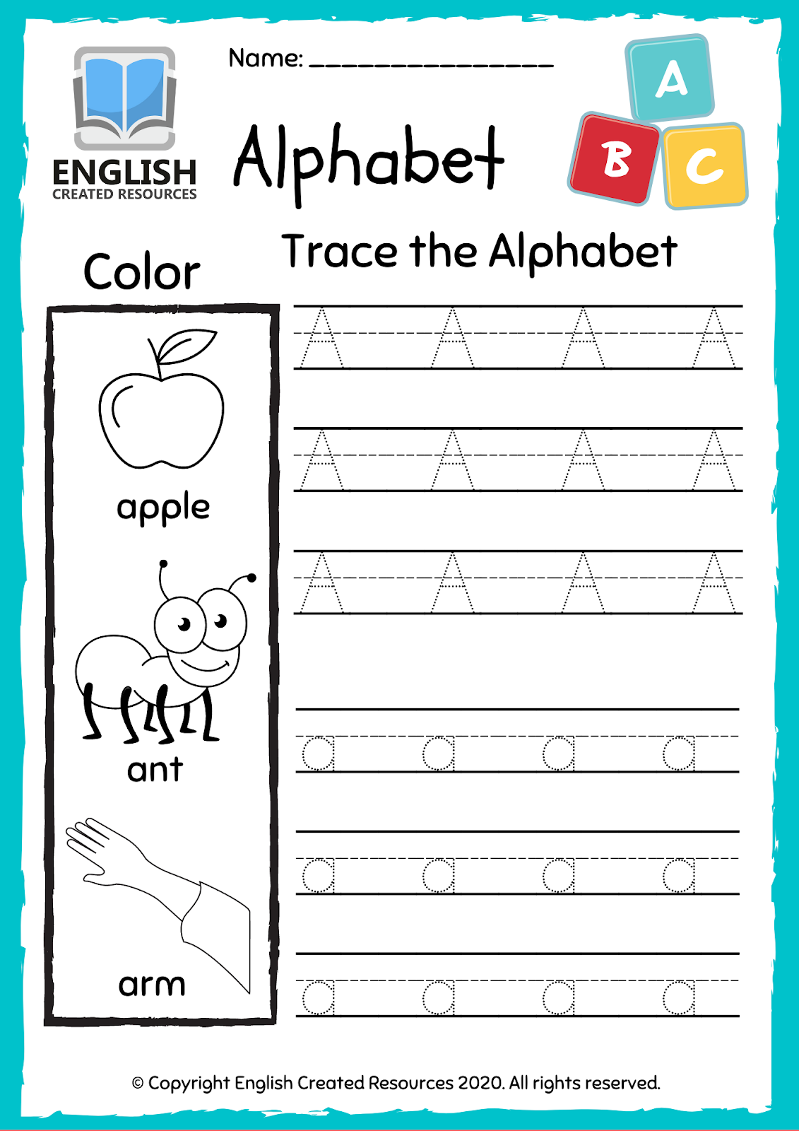 Alphabet A Z Worksheets Tracing And Colouring Book