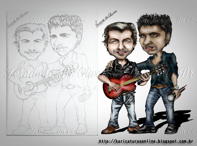 Caricatura da dupla Sertaneja Victor e Léo
