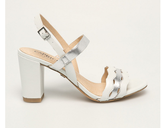 Caprice - Sandale de piele originale albe cu argintiu cu toc gros de zi