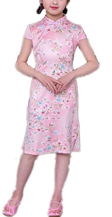 Girls Cheongsam Qipao Dresses For Children Kids