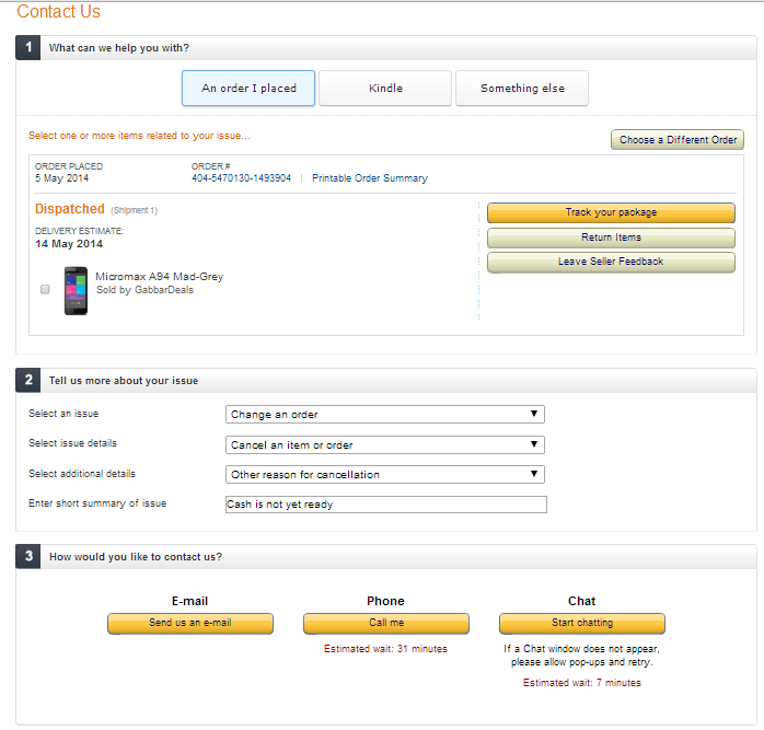 How to Cancel a Product Order Placed in Amazon India