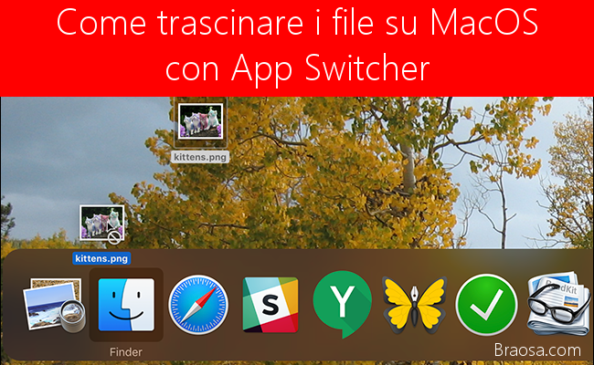 È possibile trascinare i file su MacOS App Switcher