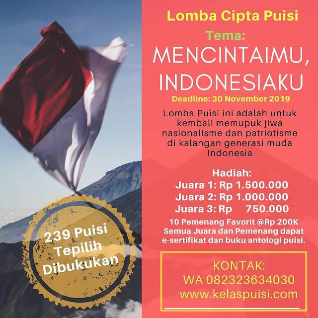 LOMBA CIPTA PUISI 2019 Hadiah Utama 1,5 Juta