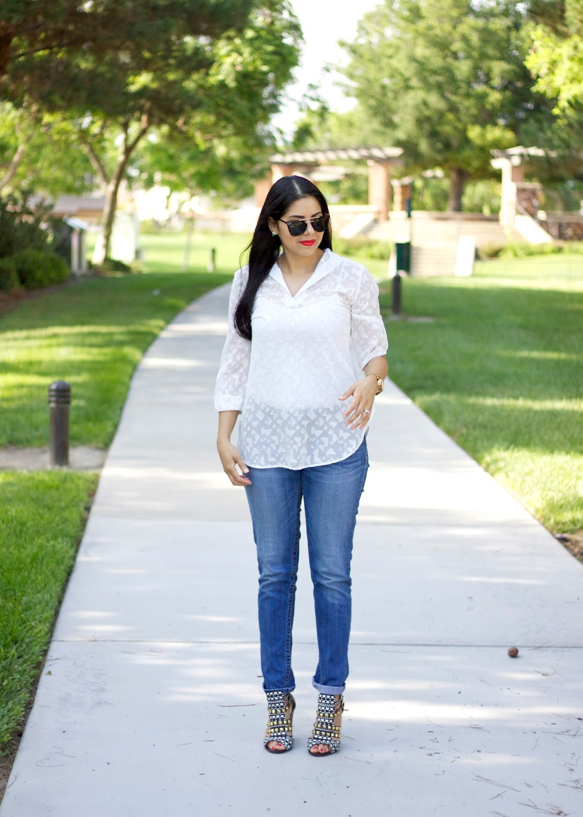 San Diego fashion blogger, san diego style bloggers, white airy top, pink blush, how to wear a white top with jeans