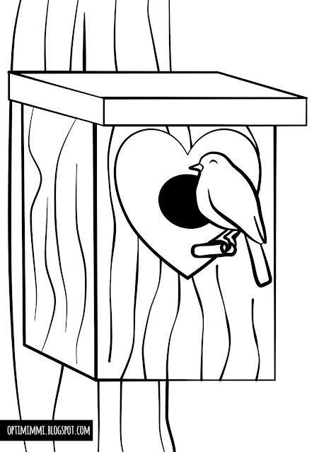 A bird and a birdhouse (a coloring page) / Lintu ja linnunpönttö (värityskuva)