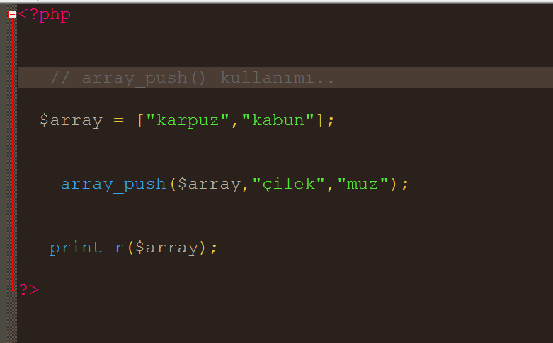 Php diziye sonradan deger eklemek Array_push  kolay video dersleri