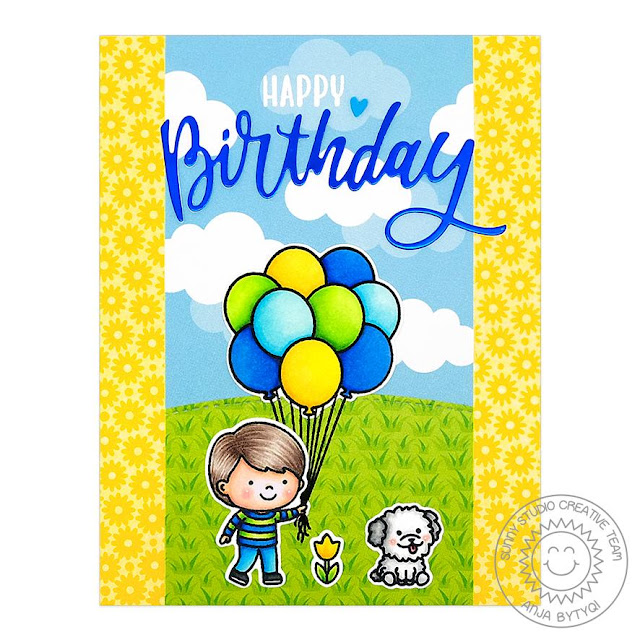 Sunny Studio Stamps: Floating By Spring Showers Blooming Frame Dies Birthday Card by Anja Bytyqi