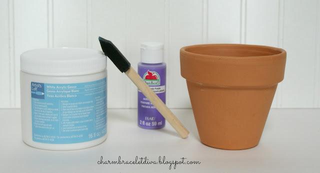 gesso acrylic paint clay pot DIY Succulent Ombre Clay Pot tutorial