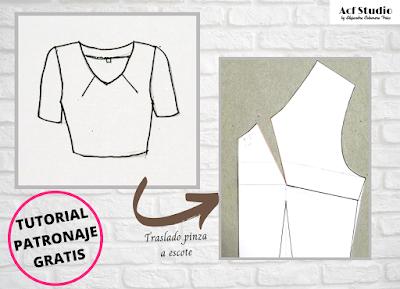 Presentación ejemplo de blusa de escote con pinzas y su correspondiente patrón. Tutorial patronaje gratis