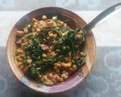 Chick Peas with Ham & Spinach