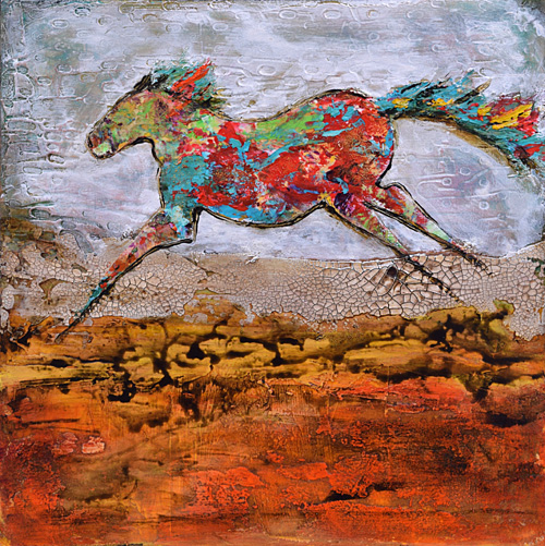 Venetian plaster, abstract horse, colorful