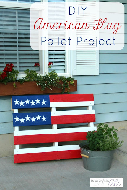 DIY project wood pallet american flag porch decor
