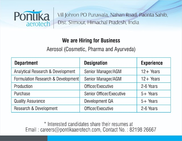 Pontika Aerotech Job Opening for Multiple Positions
