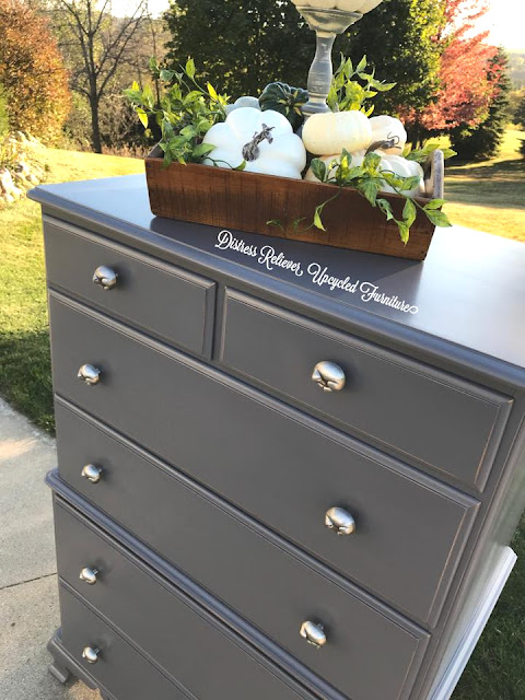 dresser makeover with pewter knobs