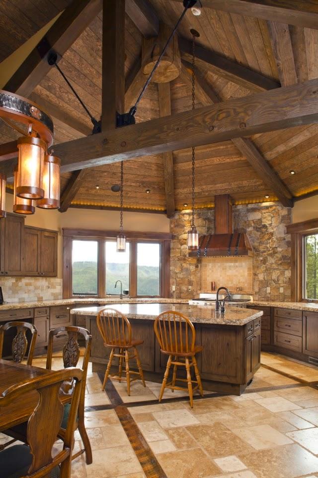 Diseños de cocinas rústicas   colores en casa