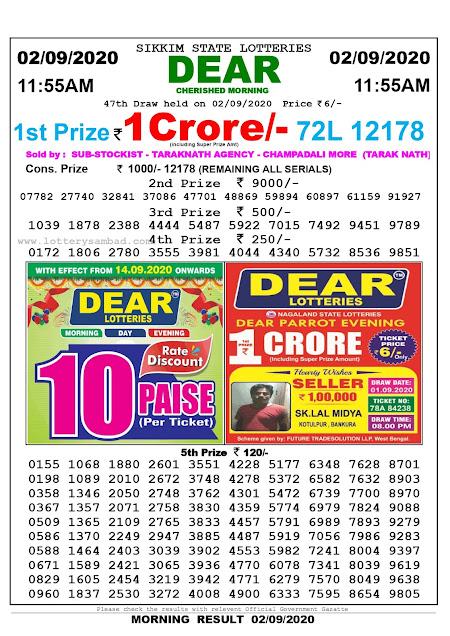 Lottery Sambad Today 02.09.2020 Dear Cherished Morning 11:55 am