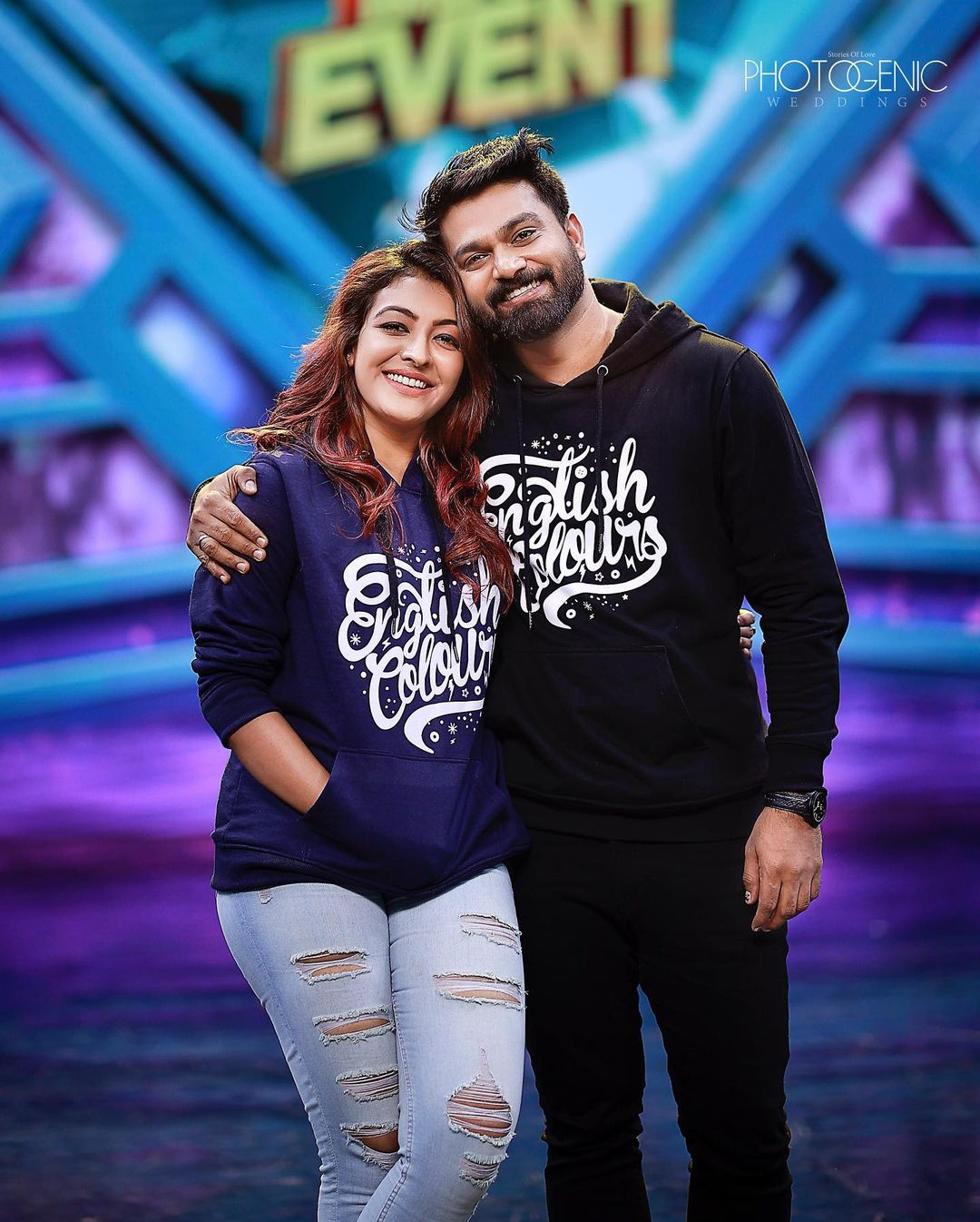 South Indian Actress Durga Krishna in Flowers Star Magic Show With Her Husband