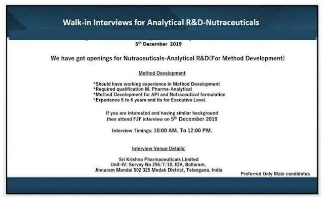 Sri Krishna Pharmaceuticals walk-in interview for Analytical R&D on 5th Dec' 2019