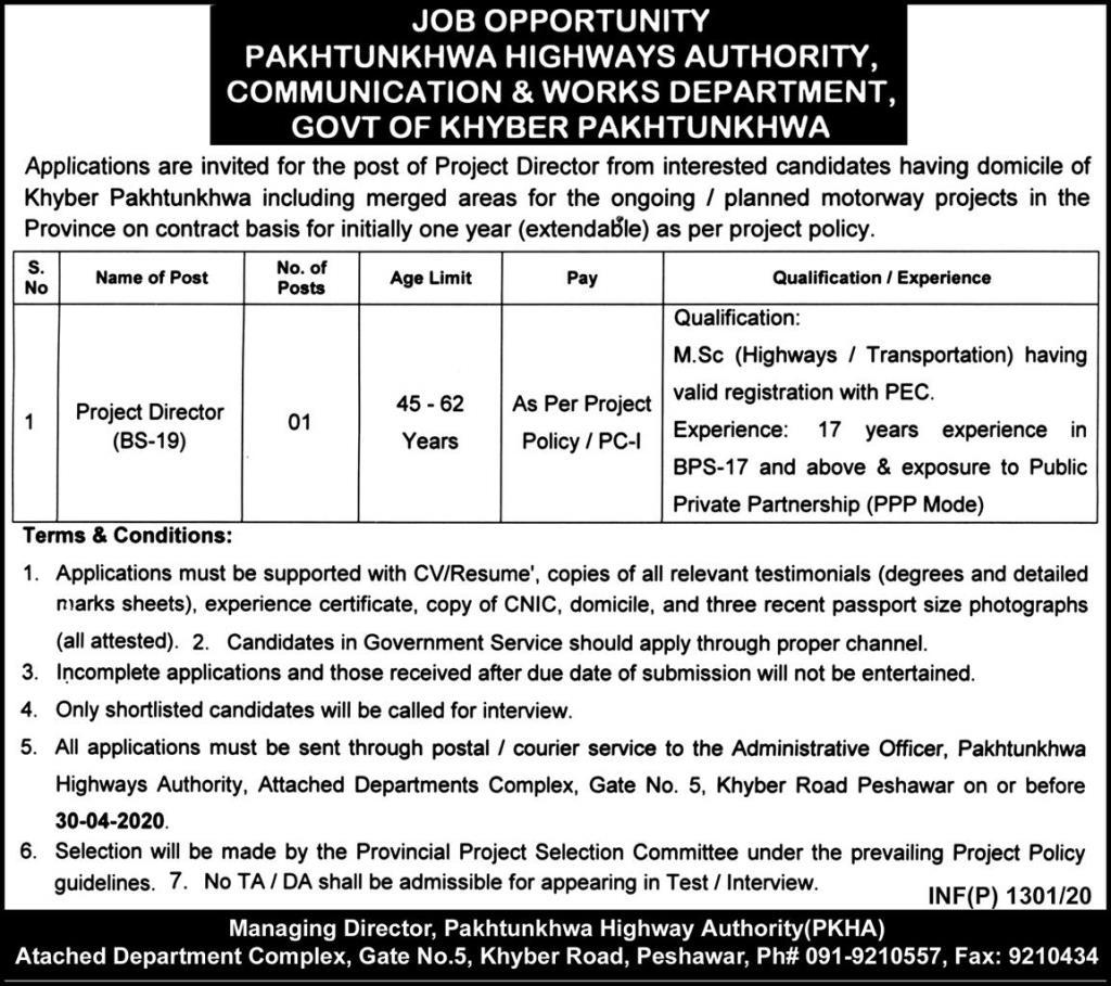 KPK Govt Jobs 2020 Latest Jobs In KPK Highways